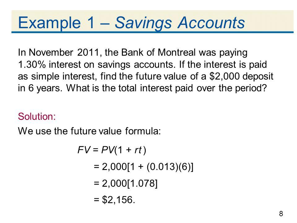 Example 1 – Savings Accounts