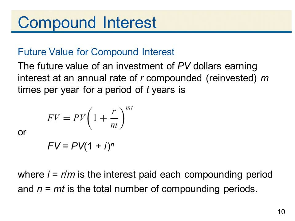 Compound Interest Future Value for Compound Interest
