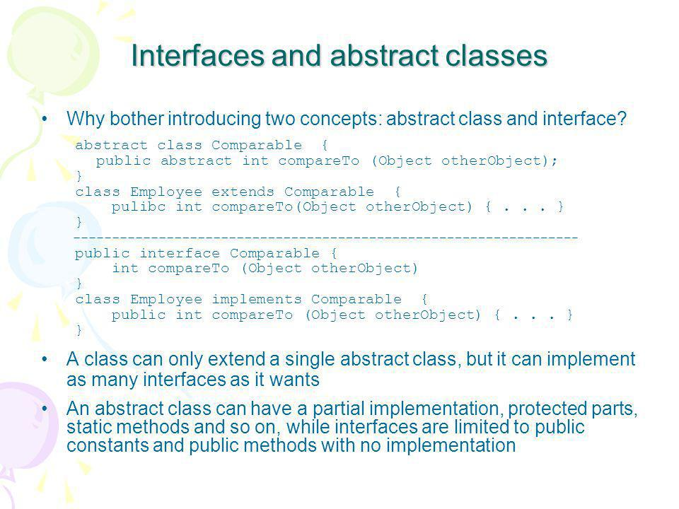 Interfaces and abstract classes