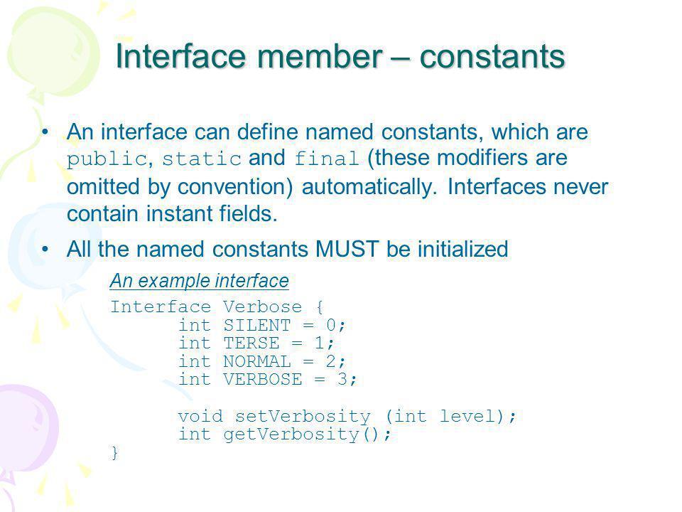 Interface member – constants
