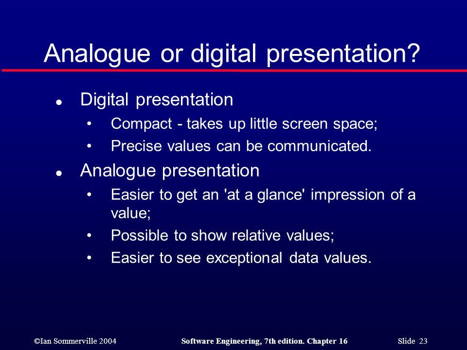 Analogue or digital presentation