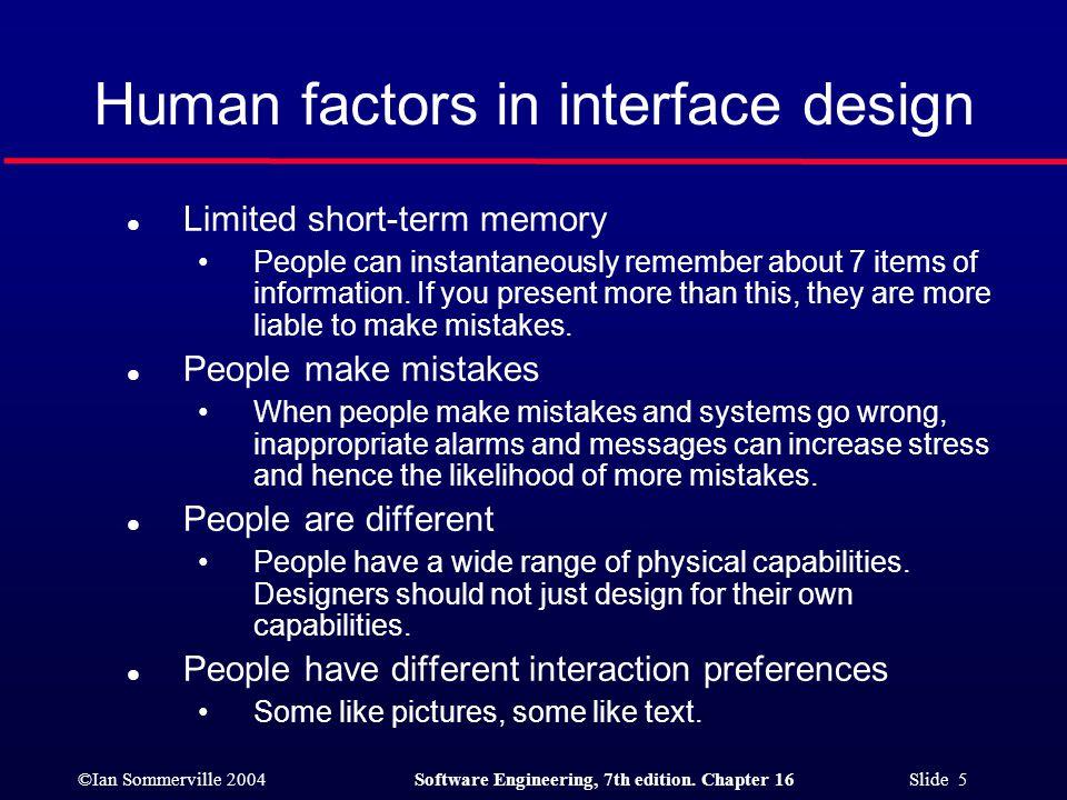 Human factors in interface design