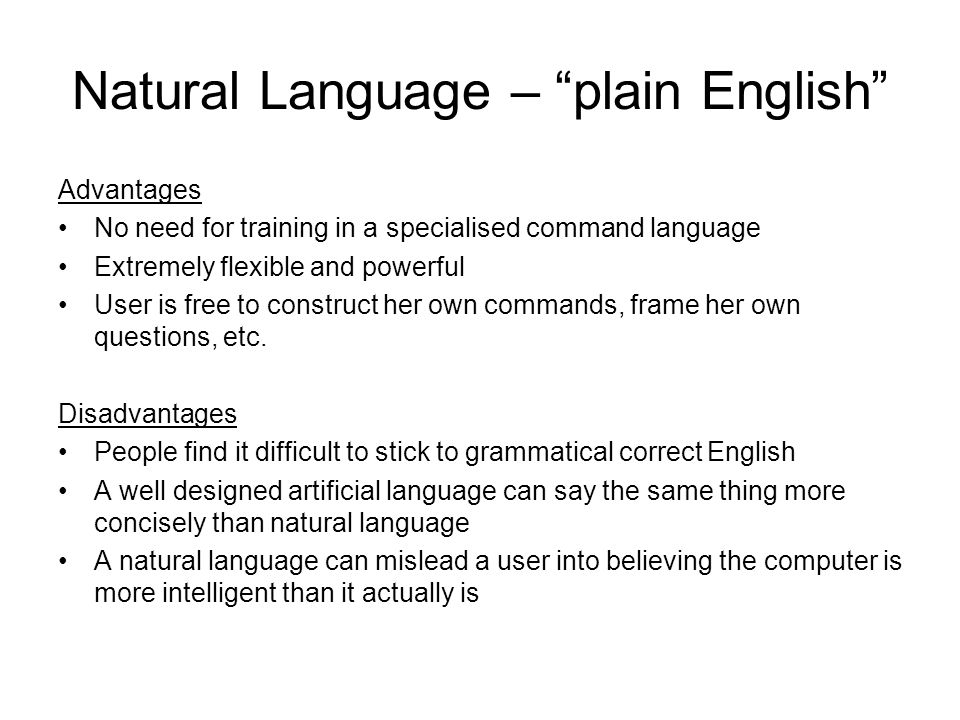 Natural Language – plain English