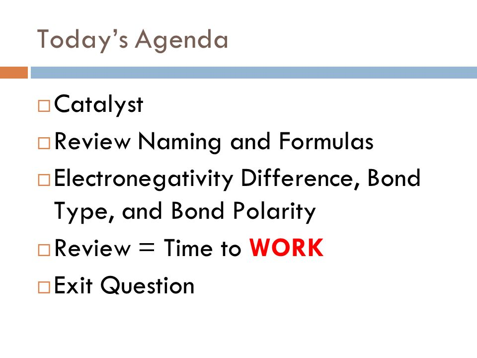 Today's Agenda Catalyst Review Naming and Formulas