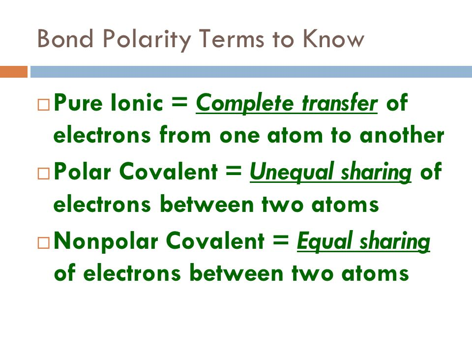 Bond Polarity Terms to Know