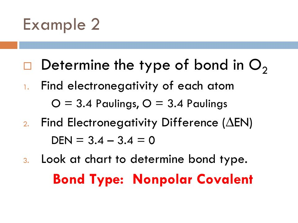 Example 2 Determine the type of bond in O2