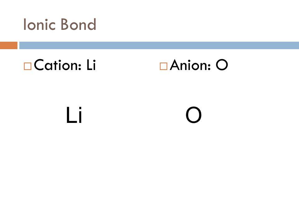 Ionic Bond Cation: Li Anion: O Li O