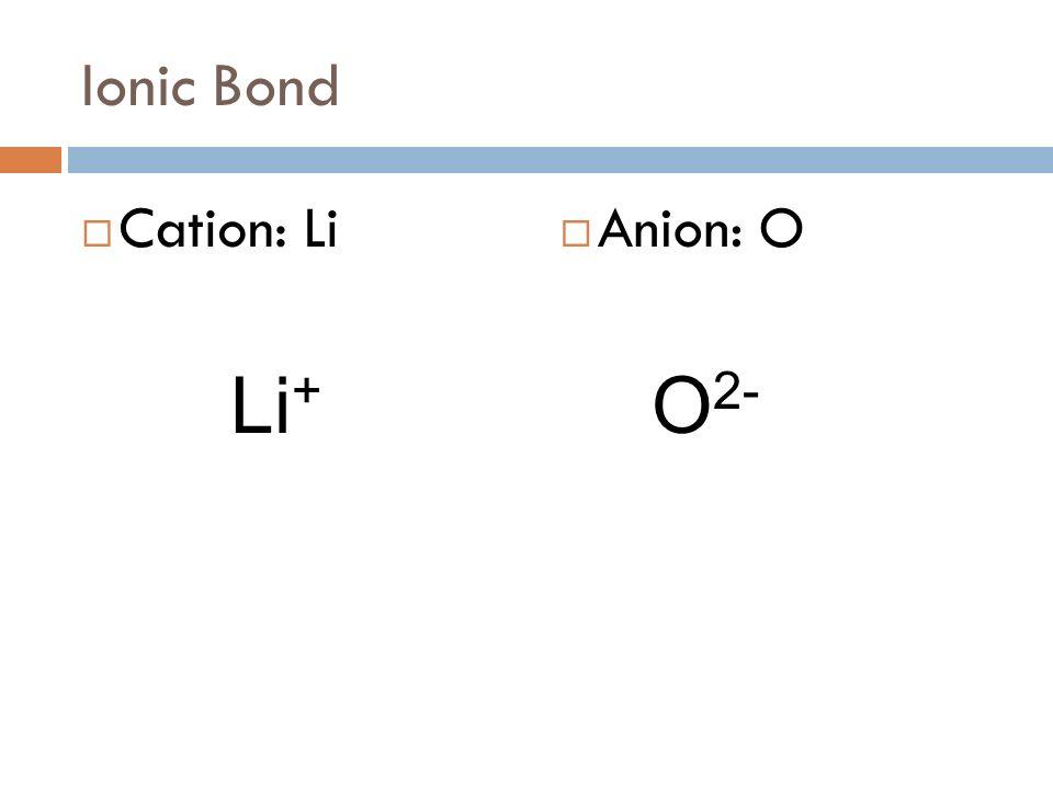Ionic Bond Cation: Li Anion: O Li+ O2-