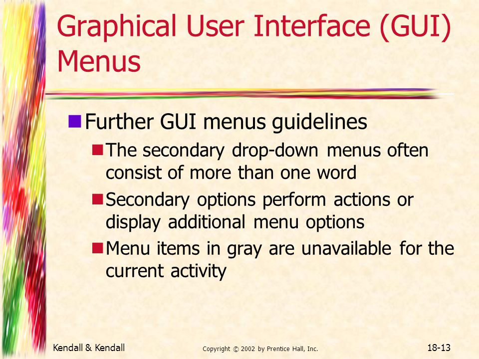 Graphical User Interface (GUI) Menus