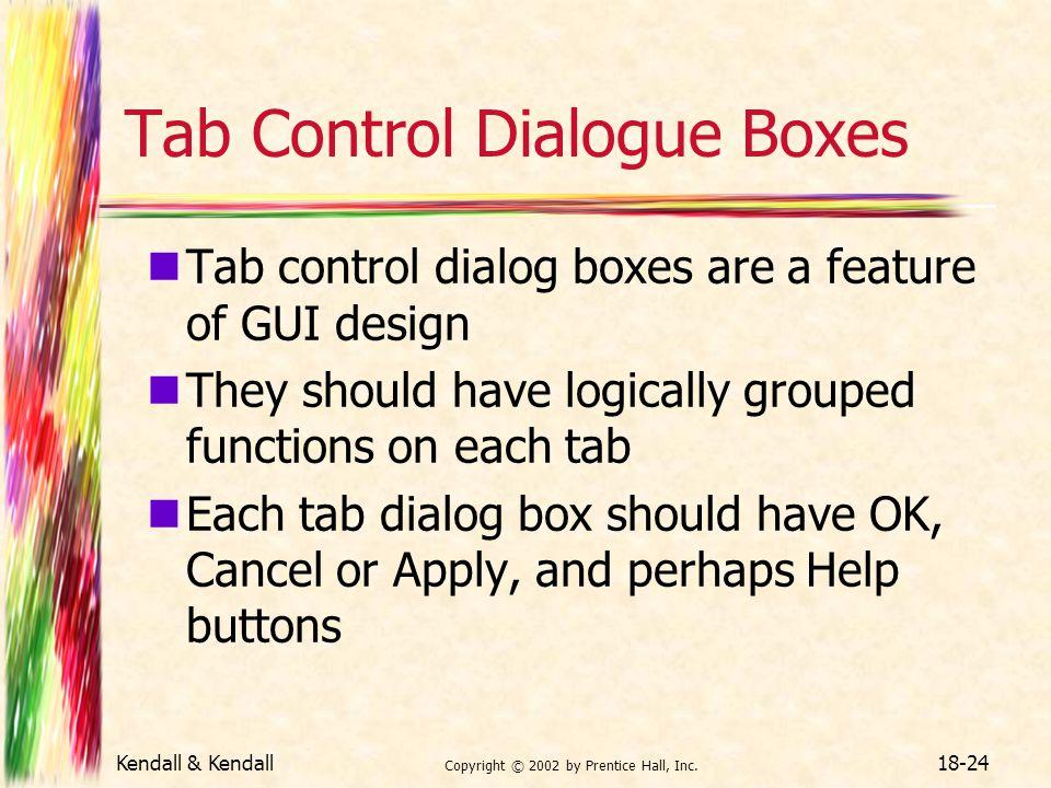 Tab Control Dialogue Boxes