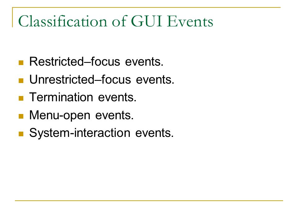 Classification of GUI Events