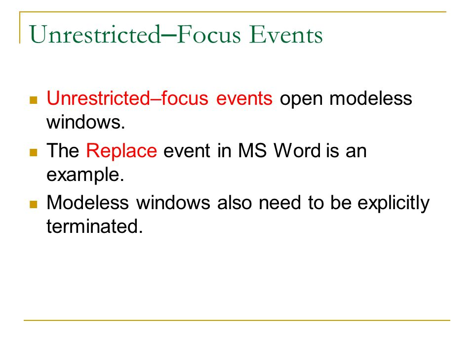 Unrestricted–Focus Events