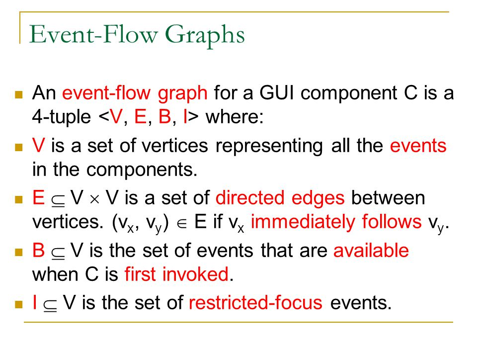 Event-Flow Graphs An event-flow graph for a GUI component C is a 4-tuple <V, E, B, I> where: