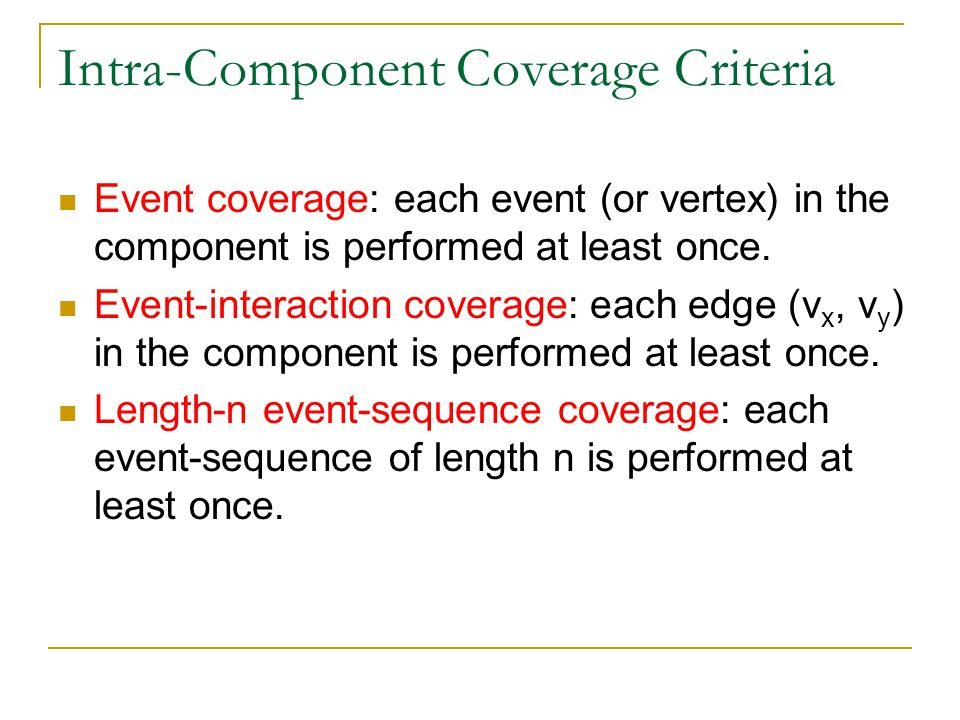 Intra-Component Coverage Criteria