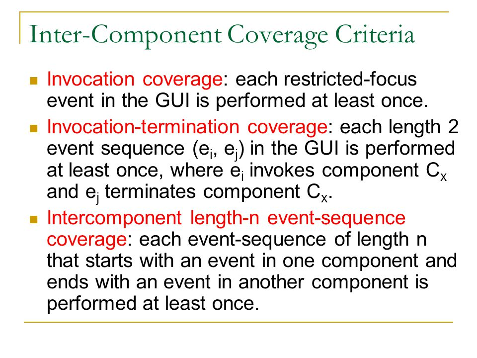Inter-Component Coverage Criteria