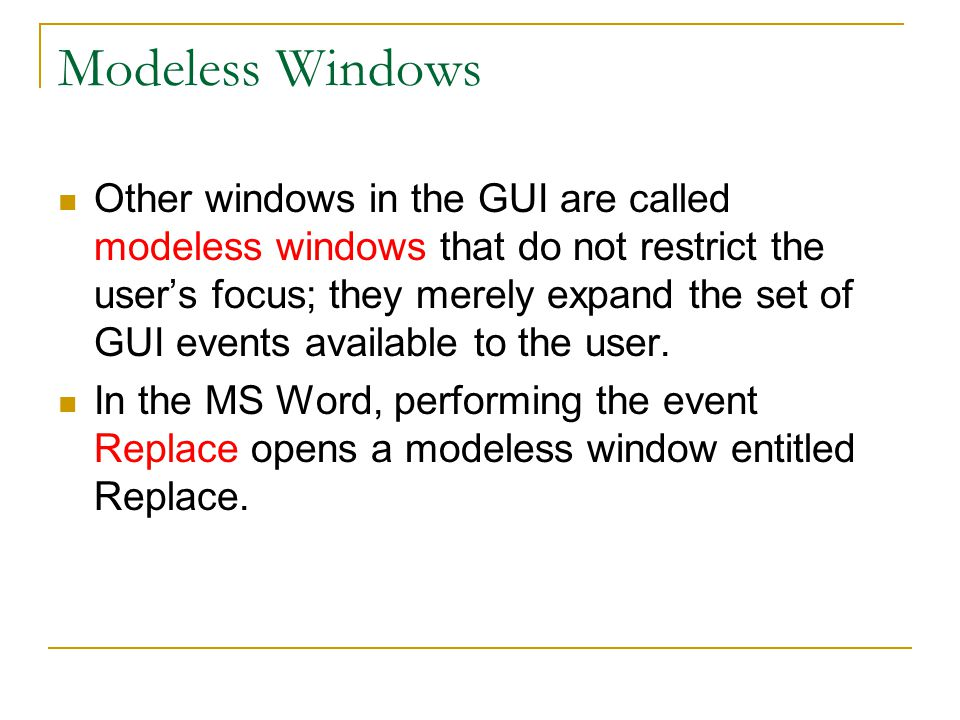 Modeless Windows