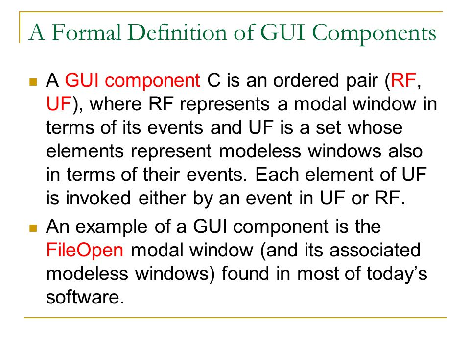 A Formal Definition of GUI Components