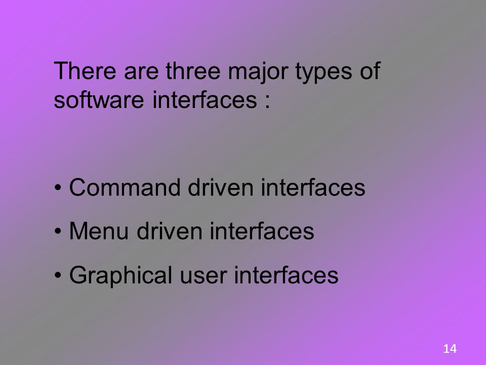 There are three major types of software interfaces :