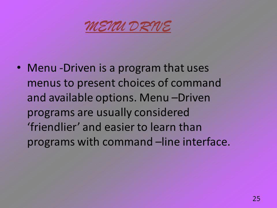MENU DRIVE