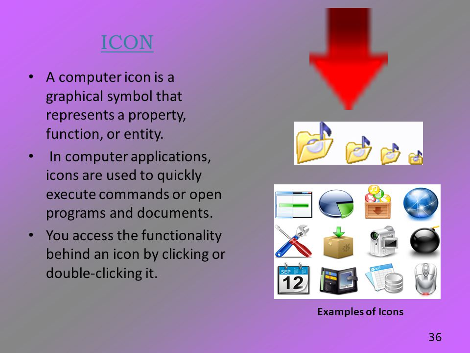 ICON A computer icon is a graphical symbol that represents a property, function, or entity.
