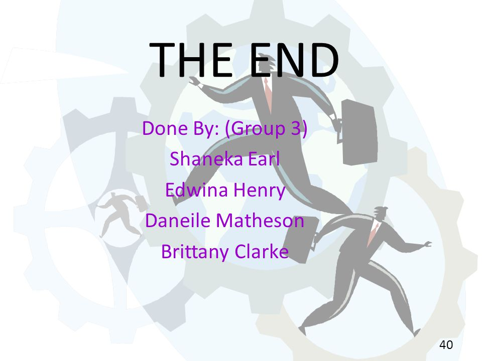 THE END Done By: (Group 3) Shaneka Earl Edwina Henry Daneile Matheson