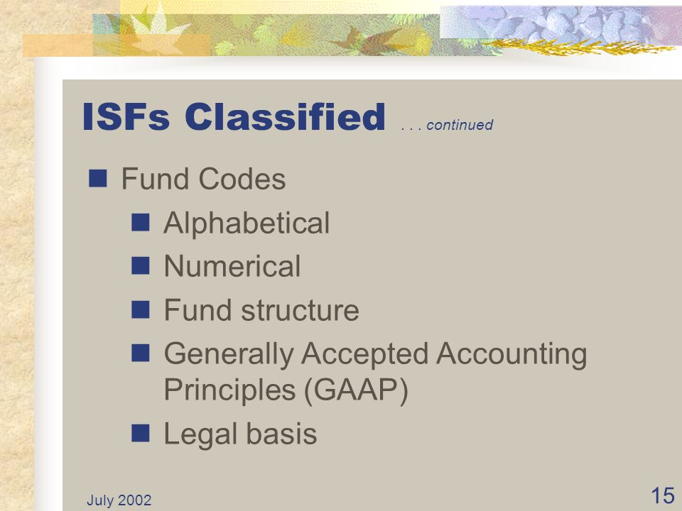 ISFs Classified . . . continued