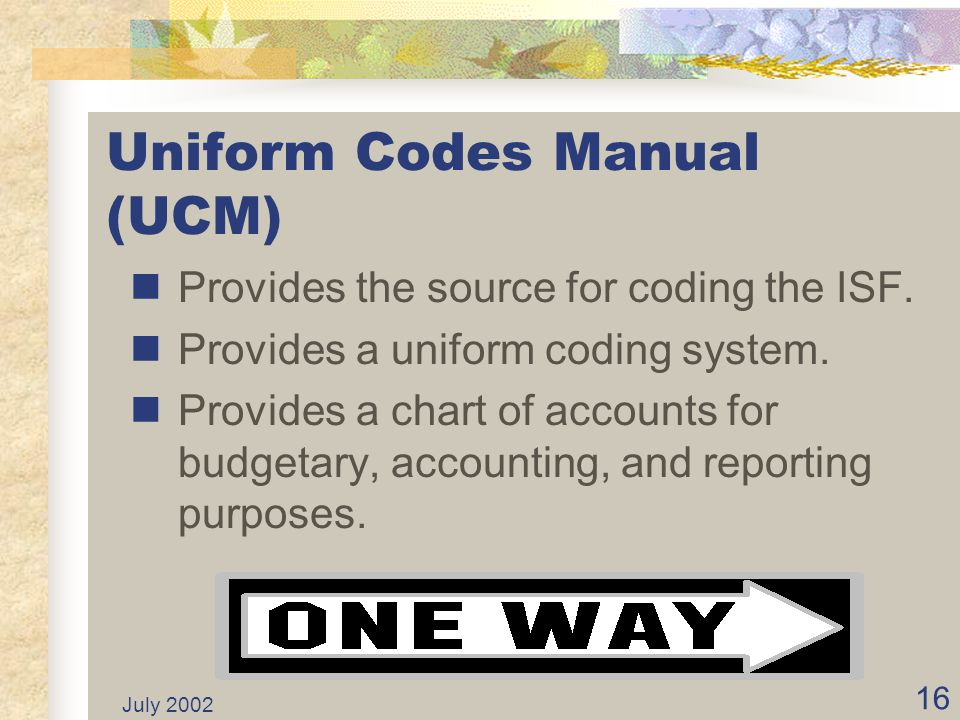 Uniform Codes Manual (UCM)