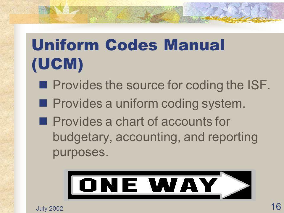 Uniform Codes Manual (UCM)