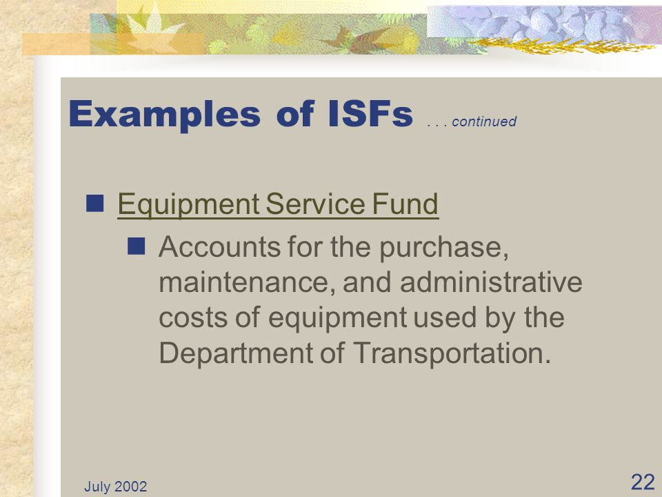 Examples of ISFs . . . continued