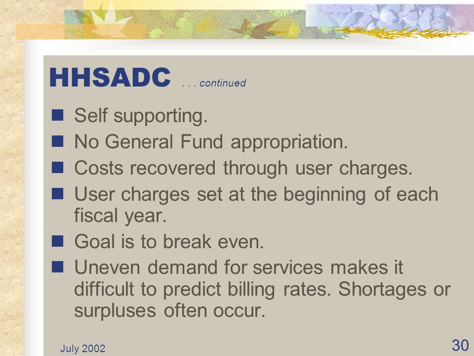 HHSADC . . . continued Self supporting. No General Fund appropriation.