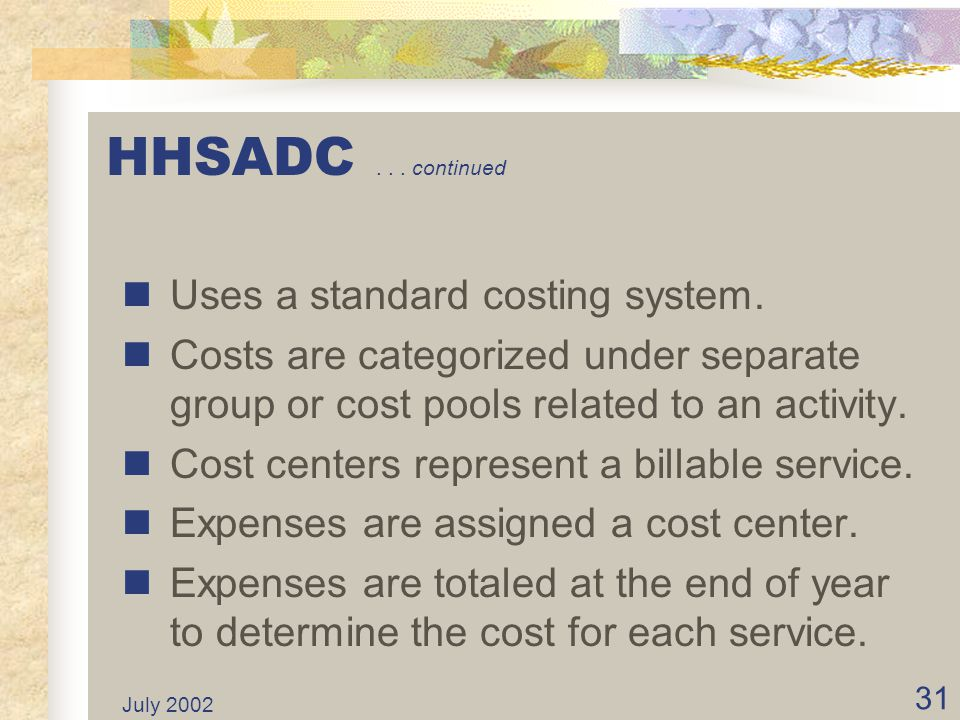 HHSADC . . . continued Uses a standard costing system.