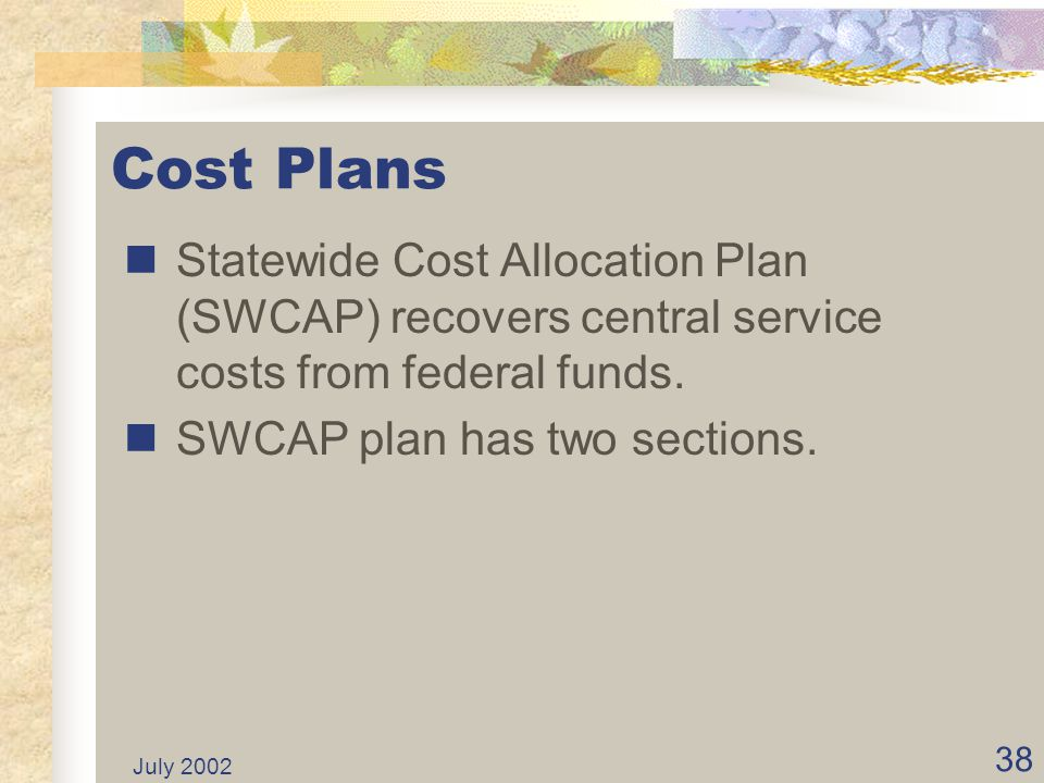 Cost Plans Statewide Cost Allocation Plan (SWCAP) recovers central service costs from federal funds.