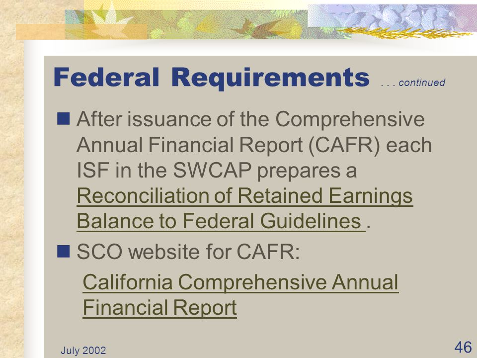 Federal Requirements continued