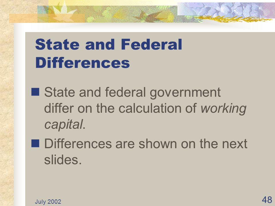 State and Federal Differences