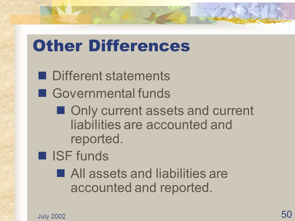 Other Differences Different statements Governmental funds
