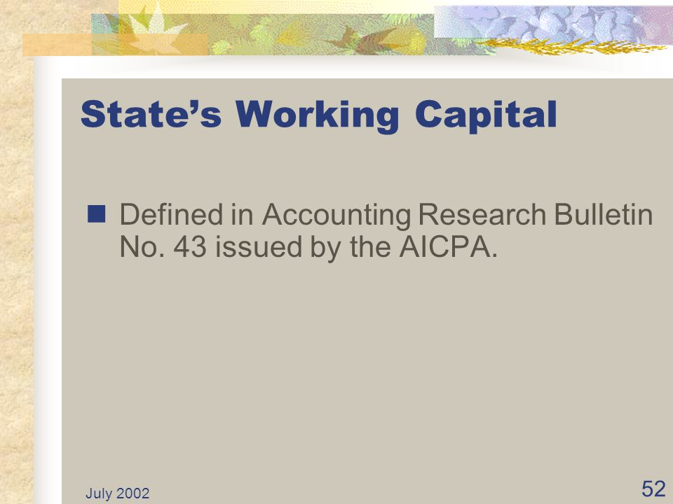 State's Working Capital