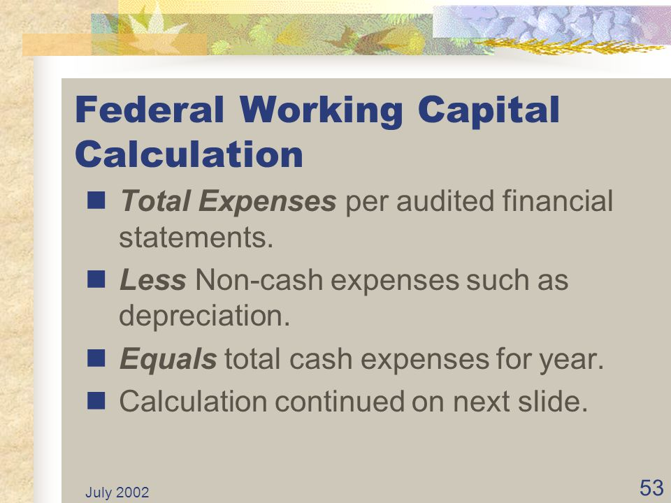 Federal Working Capital Calculation