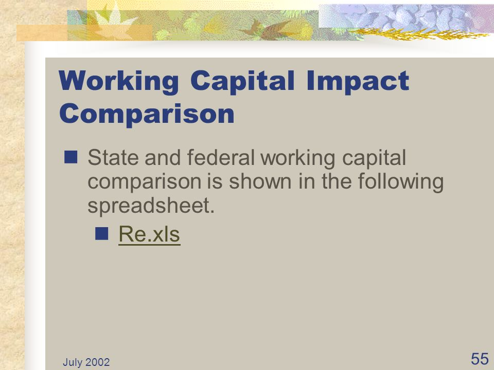 Working Capital Impact Comparison