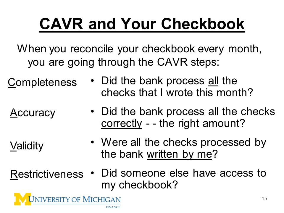 CAVR and Your Checkbook