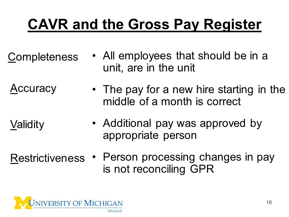 CAVR and the Gross Pay Register
