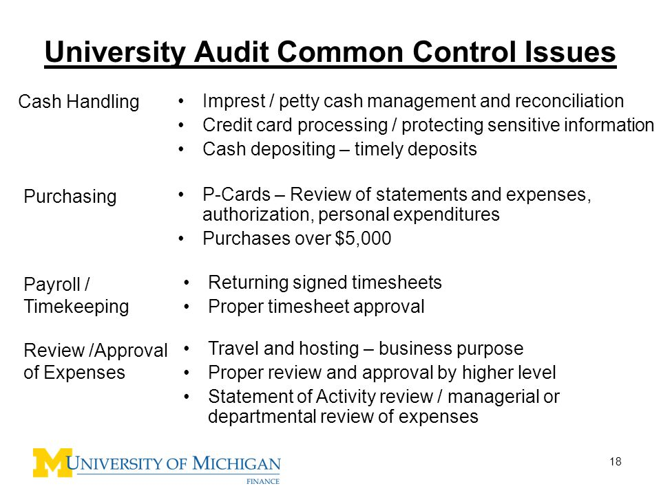 University Audit Common Control Issues