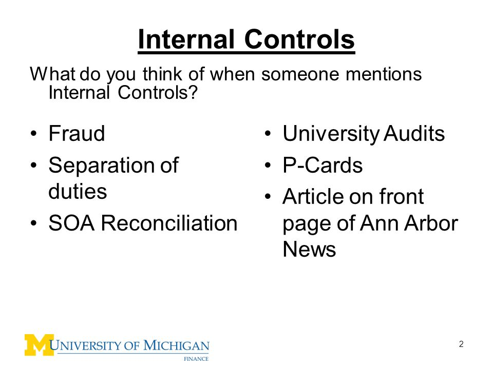 Internal Controls Fraud Separation of duties SOA Reconciliation