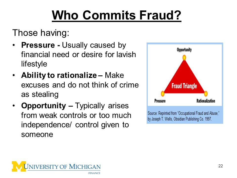 Who Commits Fraud Those having: