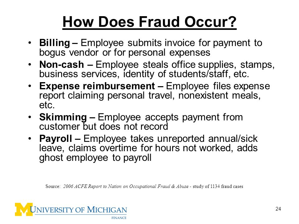 How Does Fraud Occur Billing – Employee submits invoice for payment to bogus vendor or for personal expenses.