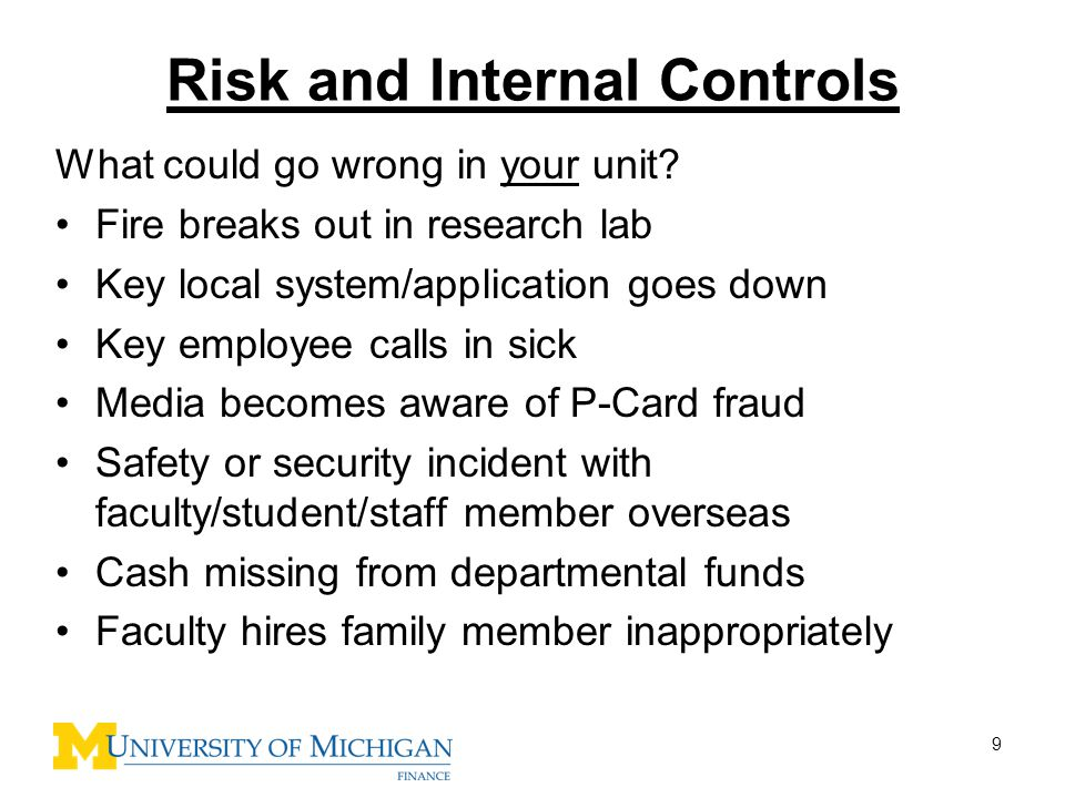 Risk and Internal Controls
