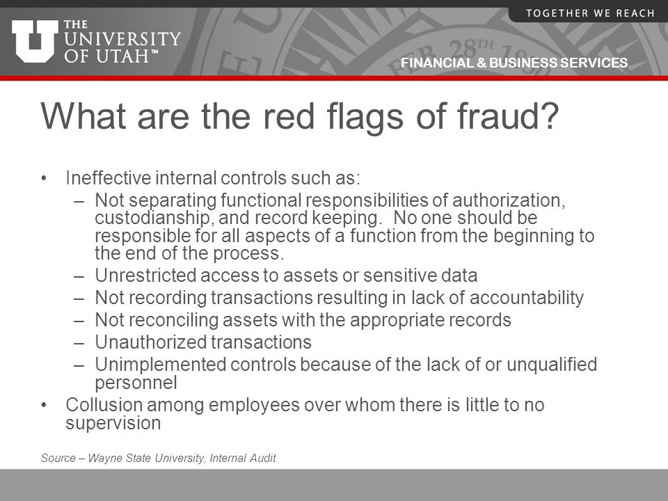 What are the red flags of fraud