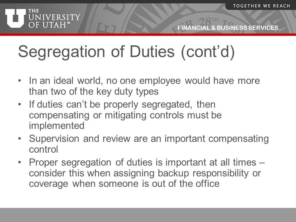 Segregation of Duties (cont'd)