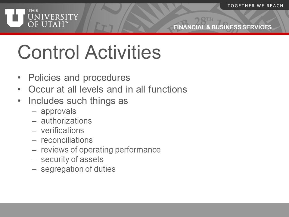 Control Activities Policies and procedures