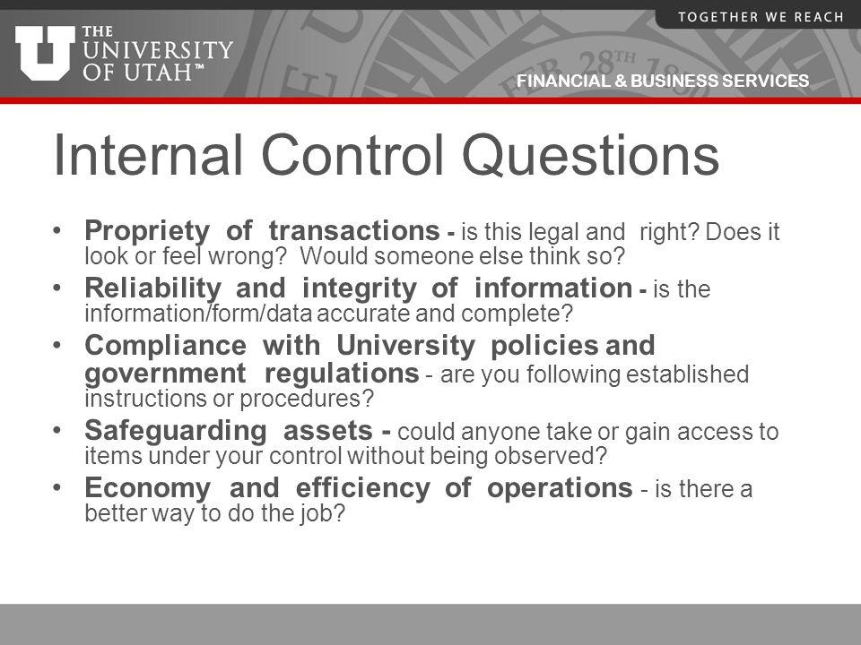 Internal Control Questions