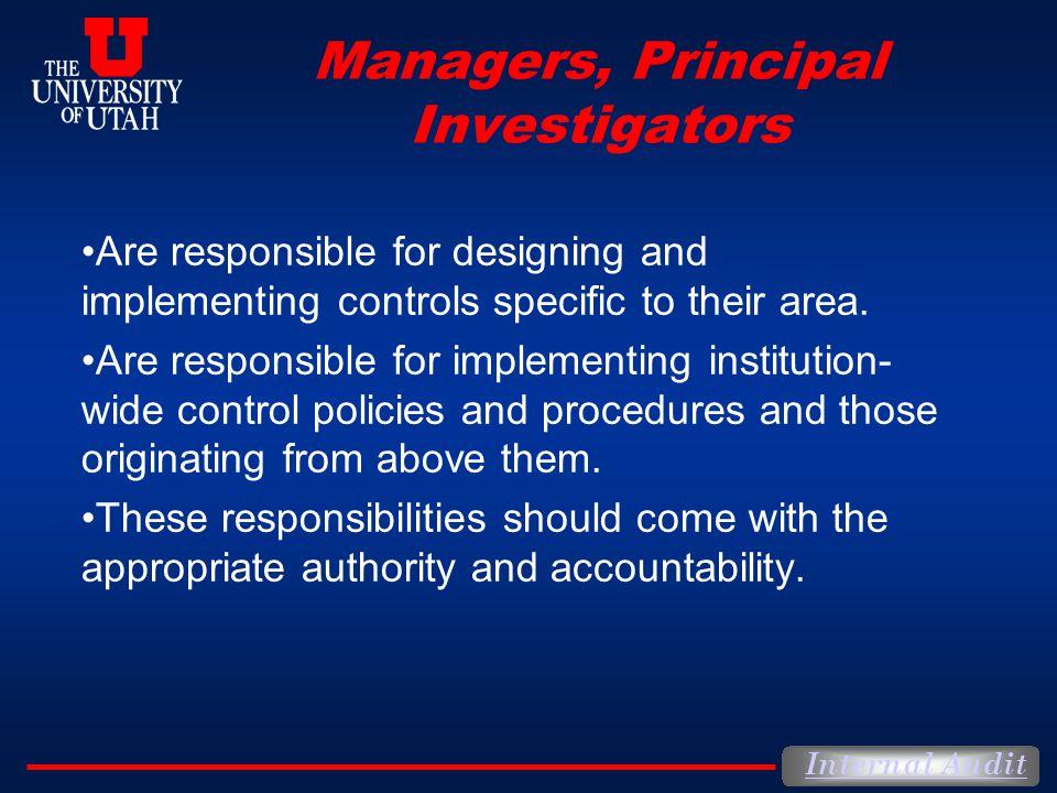 Managers, Principal Investigators